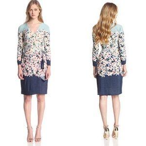 BCBGMAXAZRIA Adele Wrap Dress Floral Size Small